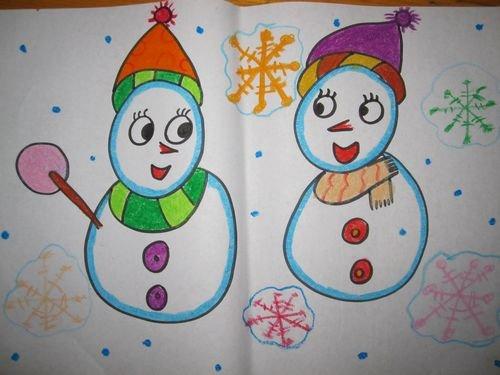 幼儿园冬天雪人简笔画图片大全