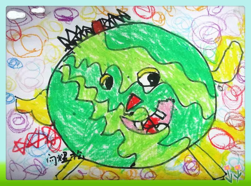 画出来:要求一笔画出一个大圆, 用深绿和草绿色涂出西瓜的花衣裳