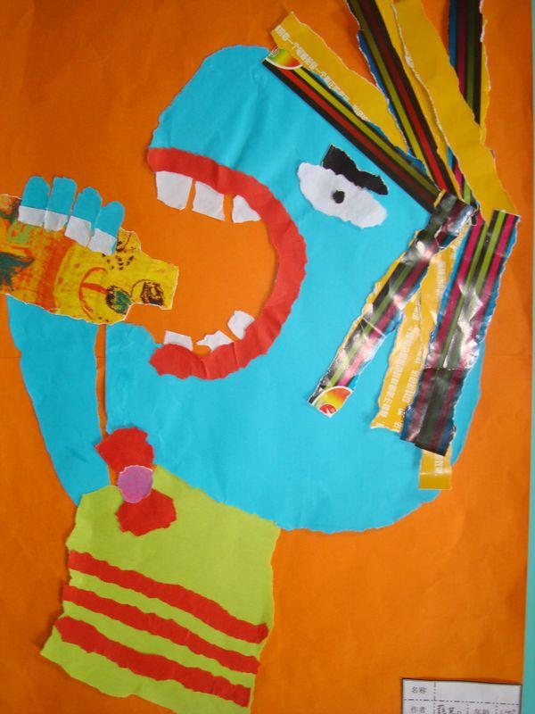 幼儿园进行了画展活动,孩子们的作品进行了展出:有刮画,撕贴画,人物画