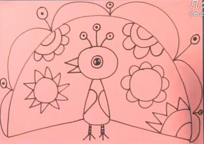 线描画-----孔雀