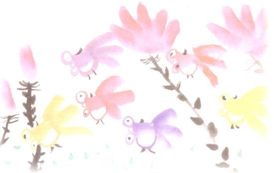 幼儿园大班中国画教案:快乐的金鱼