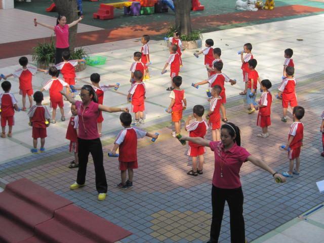 幼儿早操比赛纪实-广州市番禺区桥南街中心幼儿园