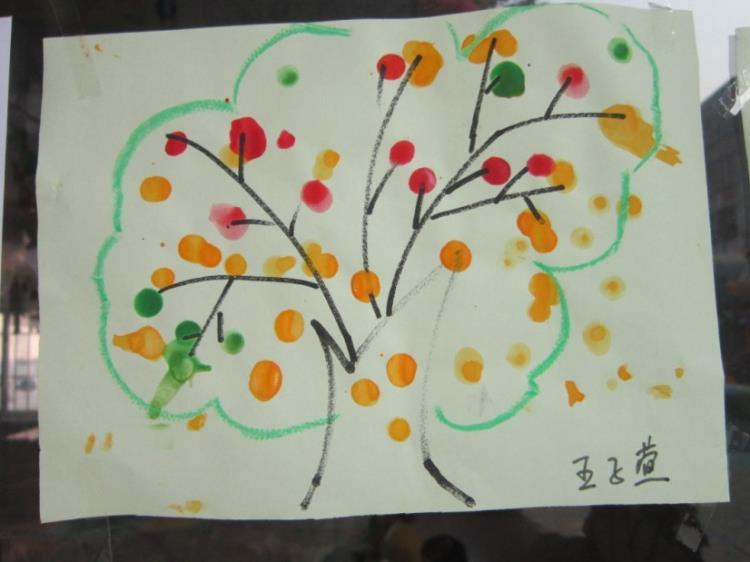 美术活动 手指点画 苹果丰收图片