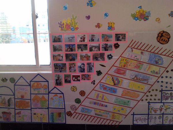 幼儿园的生活照片以及孩子们动手的作业布置上墙