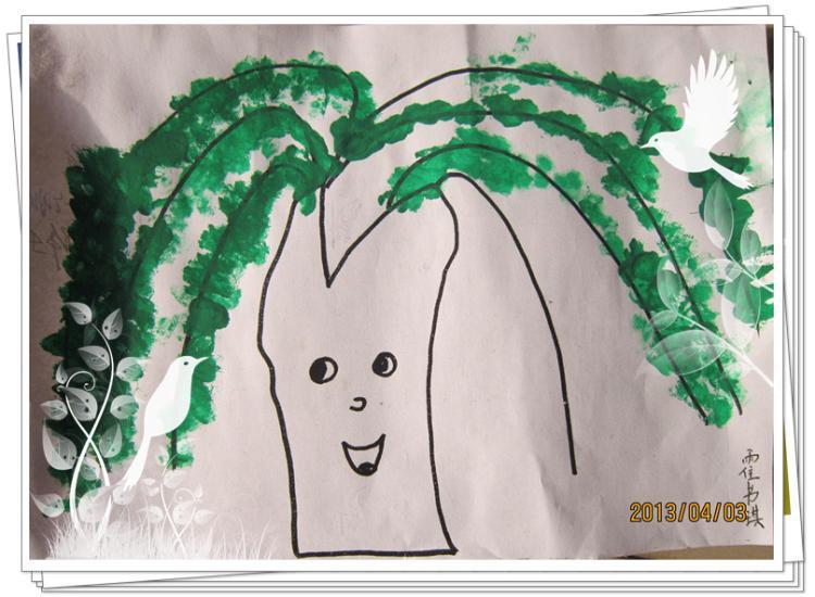 柳树姑娘(棉签画)-定远县粮食局幼儿园