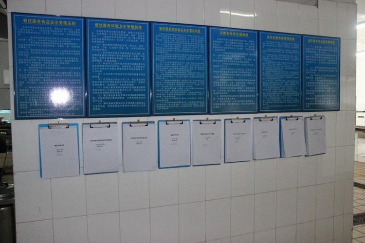 对蔬菜的清洗步骤) (上图为食品安全制度及各记录表)