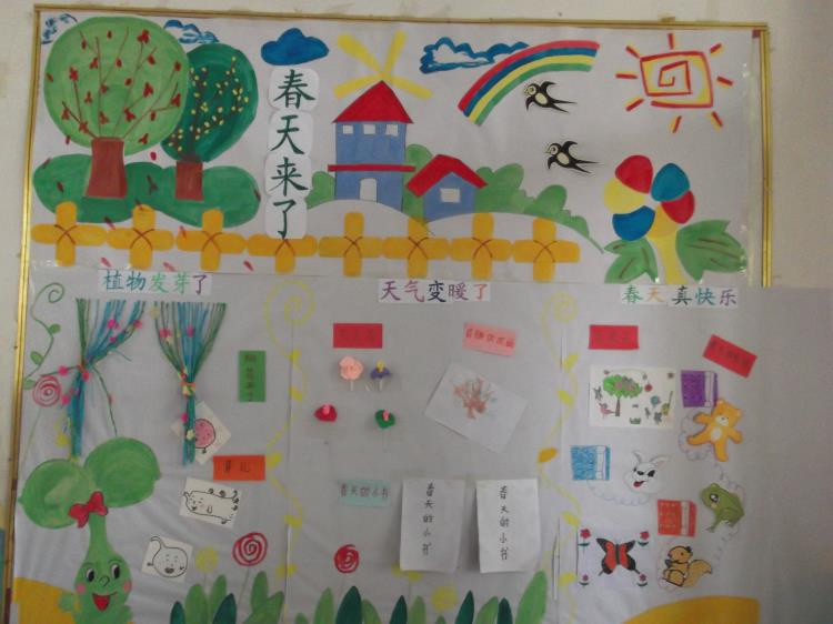 """师范附小幼儿园中班级部开展""""春天来了""""主题墙评比活动"""
