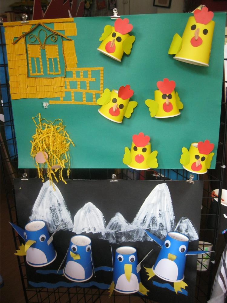 手工纸杯动物主题企鹅